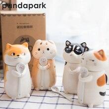 Pandapark Милая креативная мультяшная кофейная кружка, керамическая индивидуальная чашка с ложкой, Офисная молочная кофейная кружка, кружка для завтрака PPX015