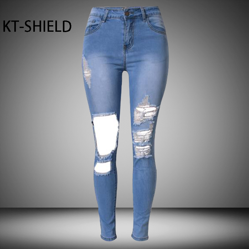 Womens skinny pencil Jeans High waist casual female Elastic ripped hole Boyfriend Denim pants girl fashion