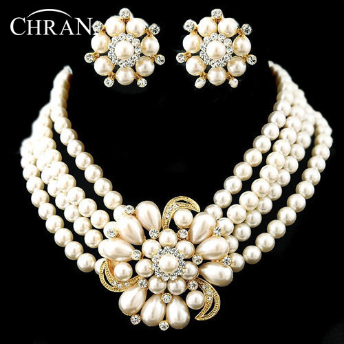 CHRAN Luxury Rhodium Rows Costume Women Bridal Jewelry Accessories Lovely Faux Pearl Flower Wedding Jewelry Sets