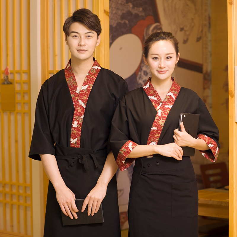 10 Sets (shirt & Pant & Apron)Japanese Style Printing Service Attendants Daily Fish Fishbone Restaurant Uniform S M L XL