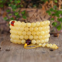 Qualitied Wholesale Natural Baltic White Nectar Yellow Amber 108 Prayer Beads 8mm Round Buddhist Mala Certificated Amber