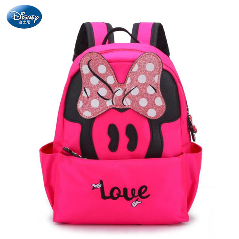 Disney Minnie Mouse Schoolbag Fashion Pink Bow Minnie Backpack Bookbag for  Student Child Girl Backpack Casual Bag for Girls -in School Bags from  Luggage ... 4b68deffd6034