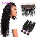 Malaysian Deep Wave With Closure 4 Bundles Ear to Ear Lace Frontal Closure With Bundles Malaysian Curly Virgin Hair With Closure