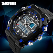 Men Sports Watches Chronograph EL Light Waterproof Watch Mens Military Wristwatches Relogio Masculino Reloges Dual Time SKMEI