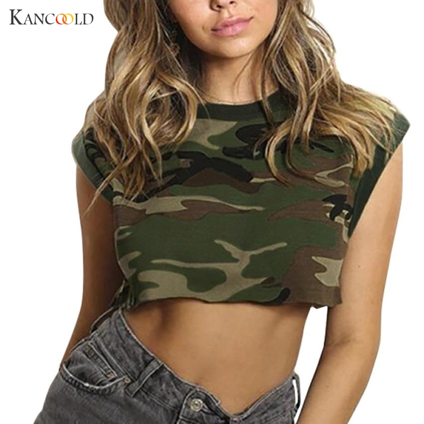 KANCOOLD womens tank tops crop top Sexy Fashion female Women Casual Tank Tops Camouflage Print Vest Halter Blouse T-Shirt APR6