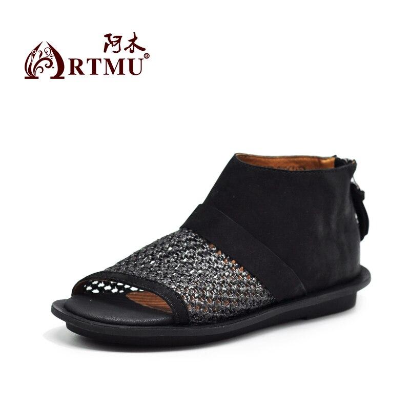 Artmu 원래 영국 빈티지 양피 hollowed out 여성 신발 여름 플랫 편안한 부드러운 수제 가죽 샌들 03552-에서로우힐부터 신발 의  그룹 2