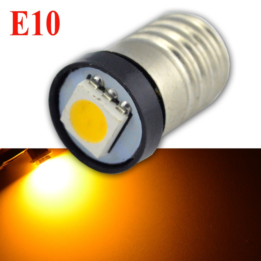 Ruiandsion 2x Lamp LED Bulb 3V 6V 12V 24V Warning Signal Bulbs 3000K 4300K 6000K White MES E10 1447 Screw For Torch Bike Bicycle