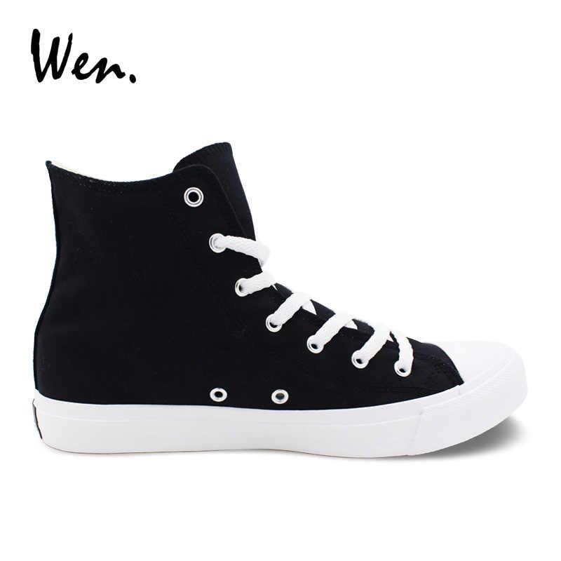 Solid Black Color Canvas Shoes High