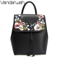 Fashion Floral School Girls Bags Women Backpack Small Black PU Leather Women S Backpacks Famous Brands