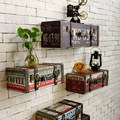 Vintage retro PU leather paiting Luggage suitcase box  home ktv bar pub decorative wall decoration