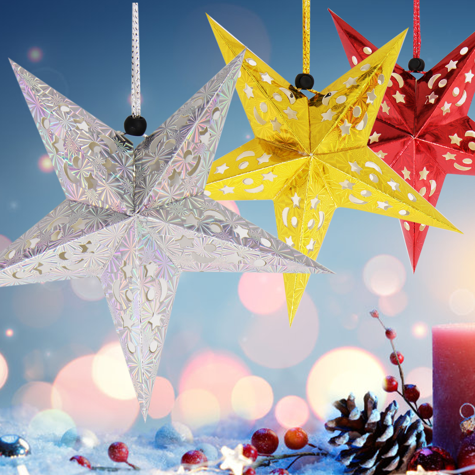 1pc 30cm Hanging Paper Star Festival Lampshade Paper Lantern Wedding Birthday Party DIY Hanging Decorations Christmas Ornaments