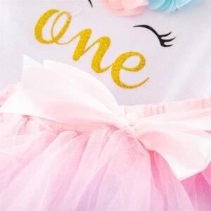 Платье для новорожденных девочек на 1-й день рождения с единорогом платье для маленьких принцесс Одежда для девочек для крещения наряды платья для вечерние Ринок на 1 год