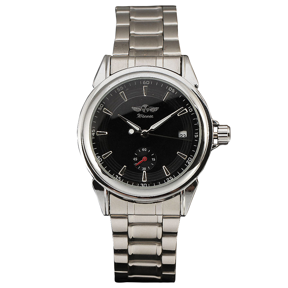 WINNER Brand Business Men's Automatic Watches Silver Stainless Steel Band Mechanical Wrist Watches for Men Calendar Date +BOX 2017 winner famous brand men fashion automatic self wind watches white dial transparent glass silver case stainless steel band