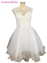 Beauty for Women Cap Sleeve Short High Neck Prom Dress Applique Tulle Evening Gown vestidos de fiesta Free Shipping
