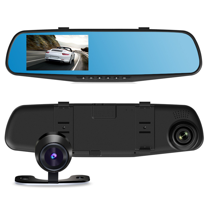 HD 4 3 inch dual two lens car rearview mirror moniter 140 degree multi functionnd rearview