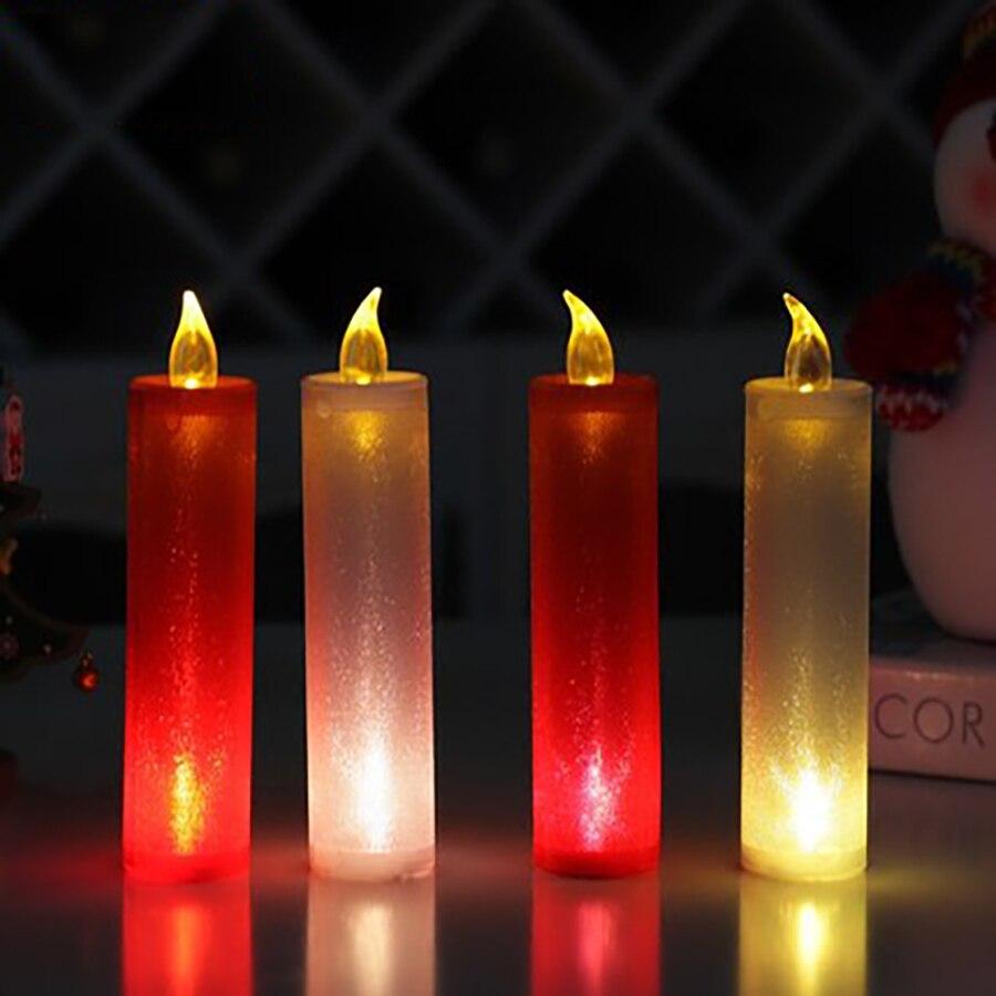 Christmas Long Pillar Led Candle Lamp Accessories Velas Bougie