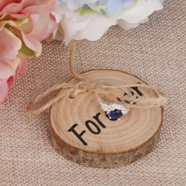 2PCS Forever Wedding Ring Pillow Cushion Rustic Party Ring Bearer