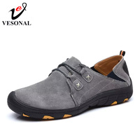 VESONAL Genuine Leather Autumn Winter Warm Fur Male Shoes For Men Sneakers Casual Brand Quality Fashion