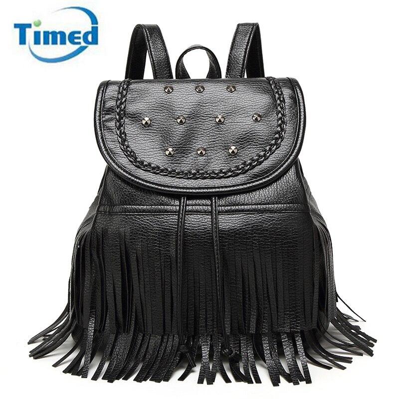 Women Backpack Schoolbag Teenage Backpacks For Girls Drawstring Bag School Backpack Female Tassel Design
