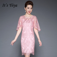 It's Yiiya Mother of the Bride Dresses Plus Size O Neck Short Sleeve Lace Pink Fashion Designer Elegant Mother Dress M049