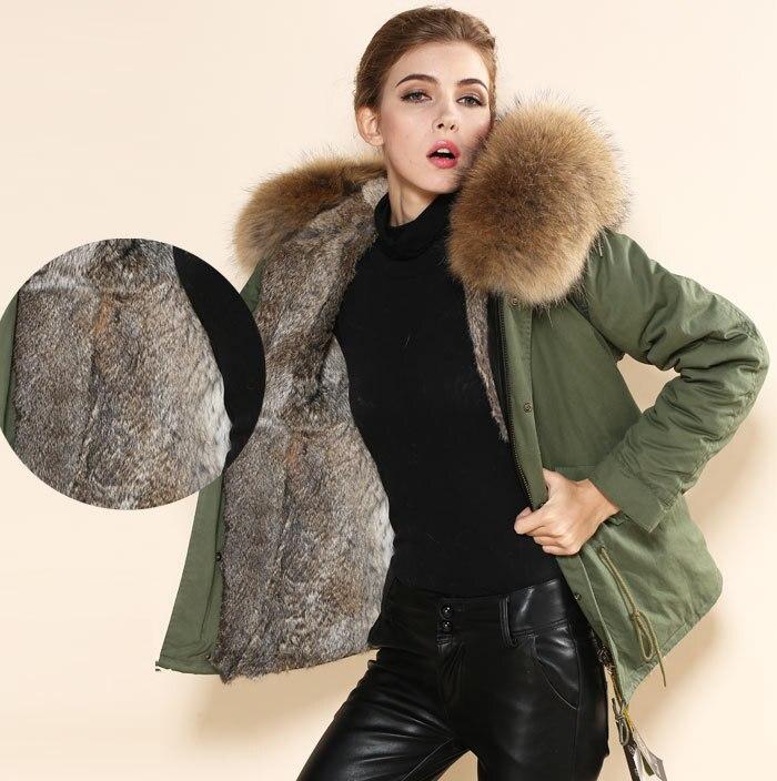 wholesale cheap price real rabbit fur parka,grey brown big collar ...
