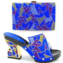 Charming Italian Shoes With Matching Bags Rhinestones Sandal High Quality African Shoes And Bags Set For Wedding TH16-08
