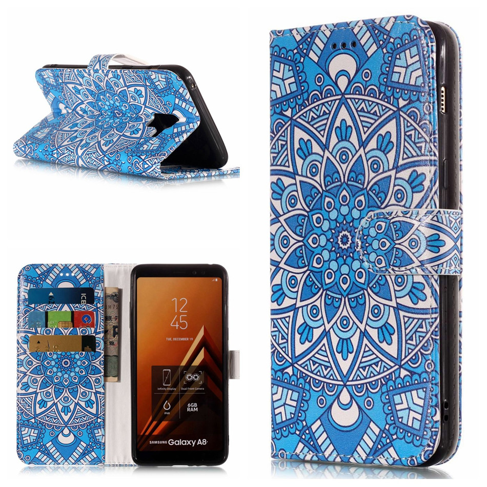 Marble Totem Flower Flip Case For Fundas Samsung Galaxy Note 9 8 S9 S8 A8 Plus 2018 A5 A3 2017 S7 S6 EDGE Fundas Cover Bag DP01G in Wallet Cases from Cellphones Telecommunications