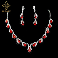 Best Selling Red Water Drop Crystal Bridal Jewelry Set Necklace Earrings Wedding Bridesmaid Jewelry Set Party