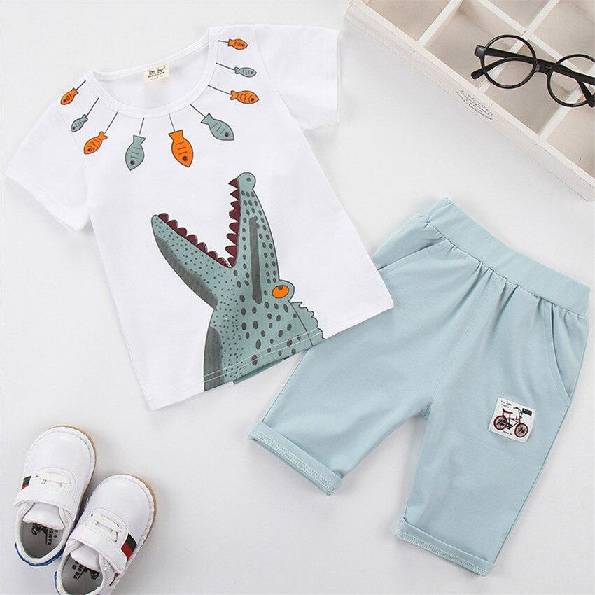 181e73e69b189 Achat 1 6 y petits garçons tenues vêtements set costume d été pour garçon  bébé ensembles enfants à manches courtes t shirt crocodile de bande  dessinée kid ...
