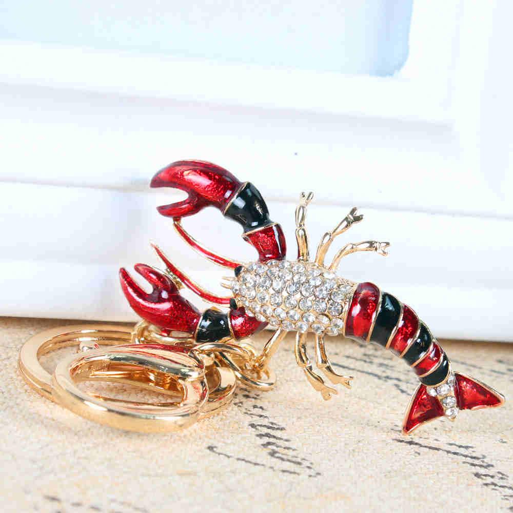Scorpion Lobster Cute Crystal Rhinestone Charm Pendant Purse Bag Car Key Ring Chain Creative Wedding Party Gift