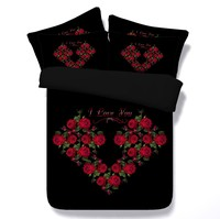 3D Black Red Rose Bedding Comforter set duvet cover bed in a bag Cal Super King queen size full twin roses department store 5PCS