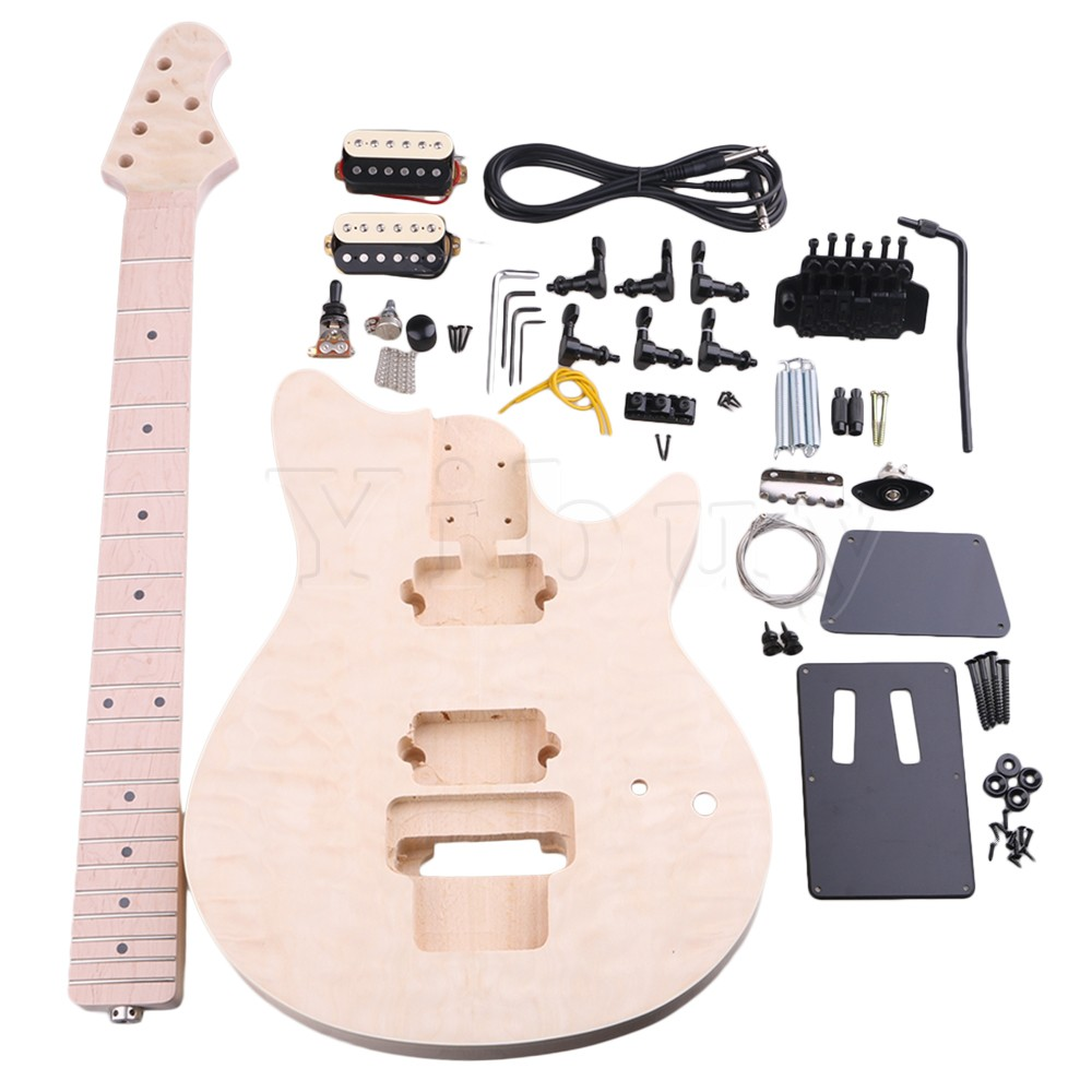 Yibuy Basswood Maple MM1-F 6 String Electric Guitars DIY Kit Body Pickguard Humbucker Pickup Bridge Tuning Pegs Neck Knob for Gu