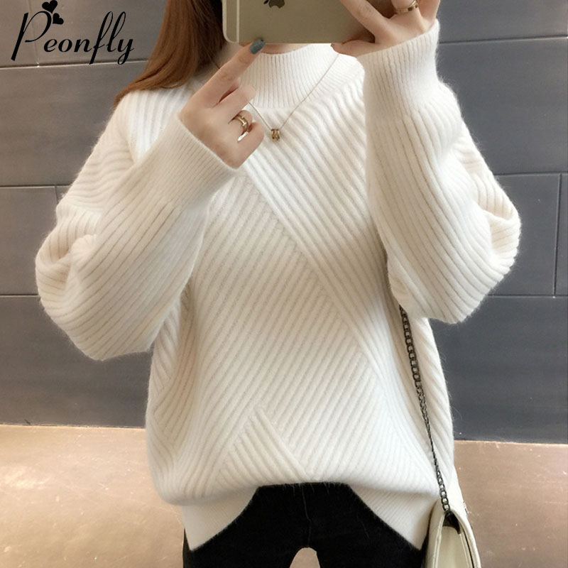 PEONFLY New 2019 Loose Thick Warm Winter Pullover Sweater Women Jumper Half Turtleneck Long Sleeve Knit Yellow Sweater Female