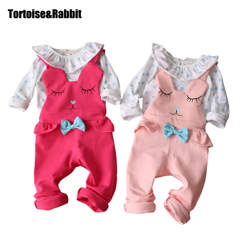 Newborn Clothes Baby Girl Clothes Set 2 pcs Long Sleeves Polka Dots Tops + Cartoon Strap Suits Infant Baby Clothing for 7-24Mo newborn baby boy girl 5 pcs clothing set cotton cartoon monk tops pants bib hats infant clothes 0 3 months hight quality