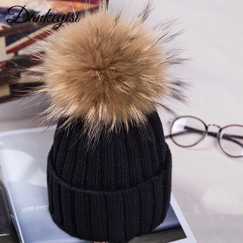 DANKEYISI Fashion Women hat fur pom skullies Beanies Caps Real Raccoon Fur Pompom Beanie Hats For Women Thick Female Cap