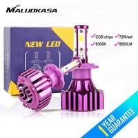 MALUOKASA 1 Pair B3 Car Headlight 6500K White 8000LM H7 H11 9006 HB4 H4 HB2 9003