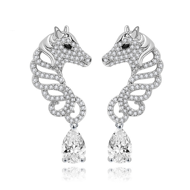 Earring Studs Horse Shape Women Dangle Water Drop G Setting Zircon Stone Clear Green Wedding Brand