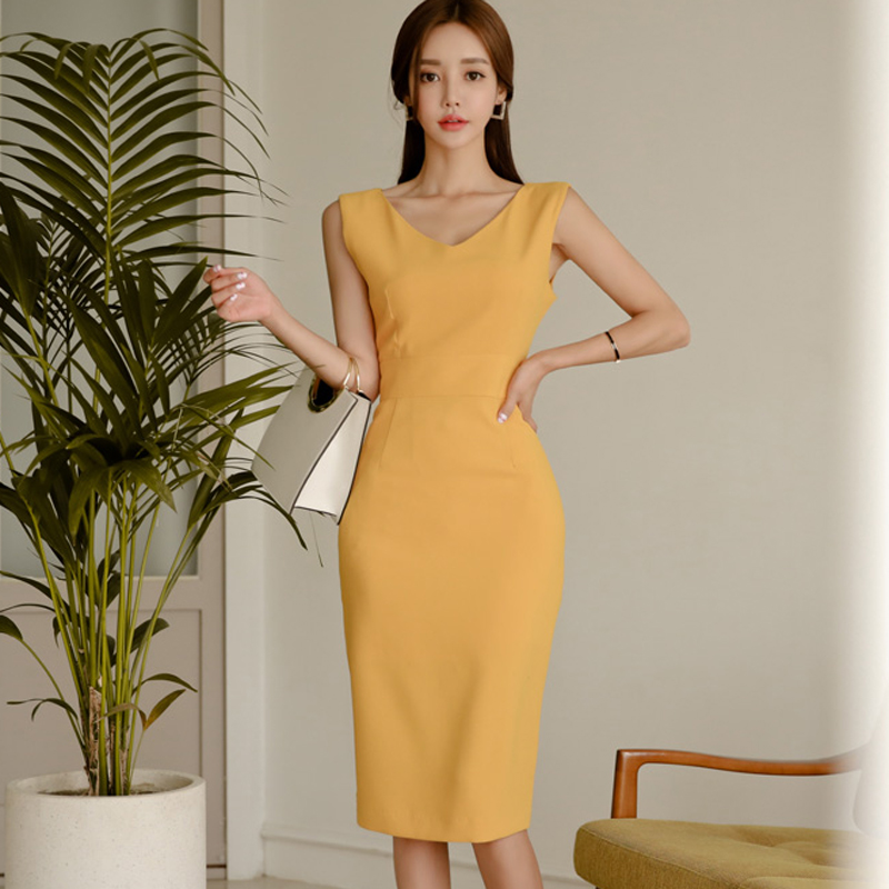 Women Sexy Vestidos 2018 Summer Casual Elegant Dresses Sleeveless Solid Slim Pencil Office Lady Casual Party Dress