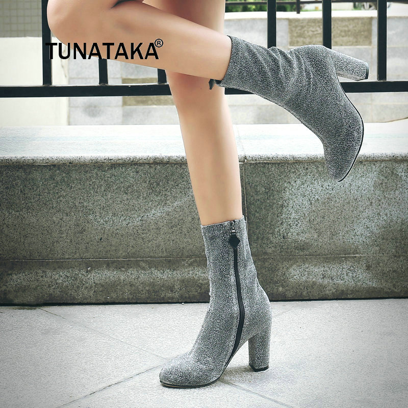 For Womens New Thick High Heel With Side Zipper Mid Calf Boots Fashion Sequins Spring Stretch Boots Silver Black