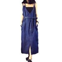 2017 Women S Summer Long Denim Dress Female Strap Maxi Dress