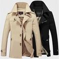 Homens Casaco Jaqueta Longa Seção de Moda Trench Coat Jaqueta Masculina Veste Homme Marca Casual Fit Sobretudo Outerwear Jaqueta 5XL
