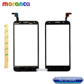 5.0 ''için Alcatel One Touch pixi 4 4G 5045 OT5045 5045A 5045D 5045G dokunmatik ekran digitizer Cam sensör paneli Beyaz Siyah + 3 M Bant