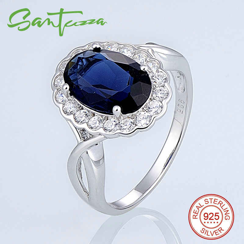 SANTUZZA Silver Rings for Women Engagement Wedding Ring Blue White Cubic Zirconia CZ Pure 925 Sterling Silver Fashion Jewelry