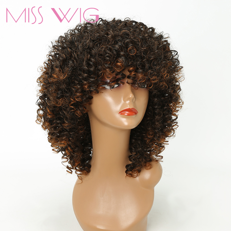 MISS WIG Long Afro Kinky Curly Wigs For Black Women Blonde Mixed Brown 16Inches 250g Synthetic Wigs African Hairstyle