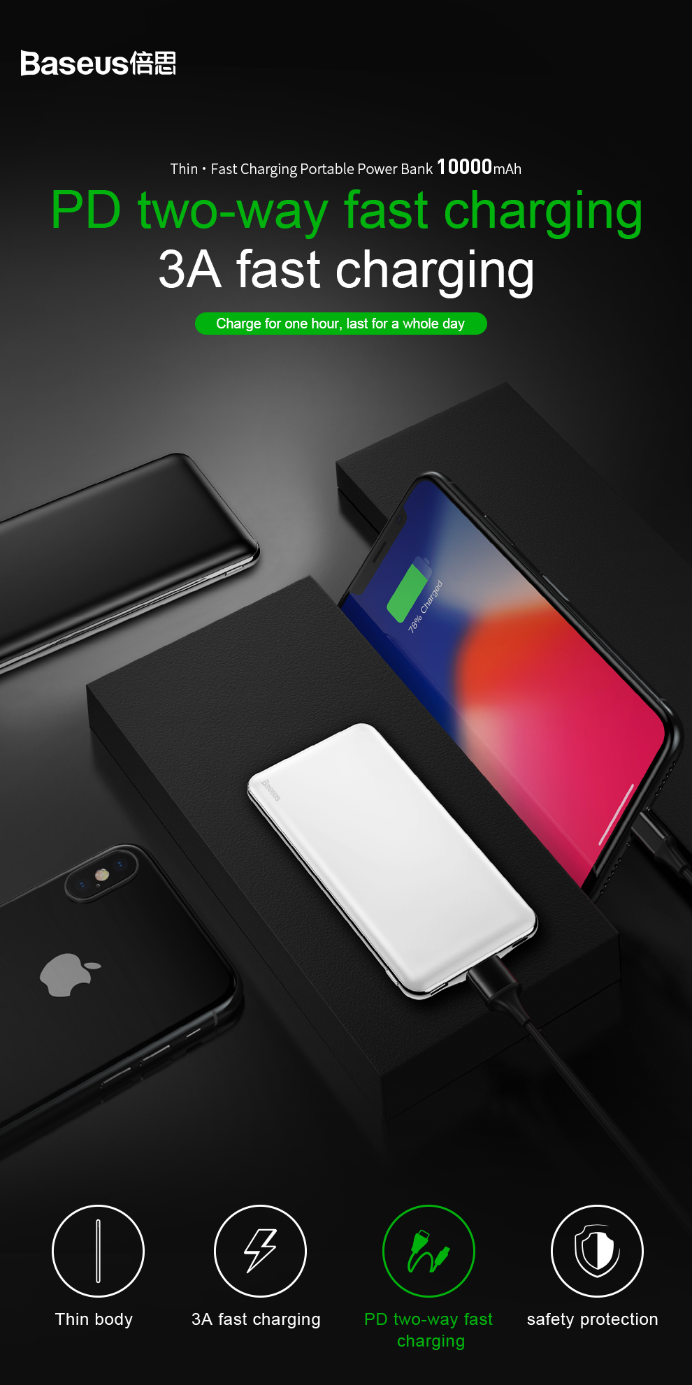 Baseus USB PD Fast Charging Power Bank For iPhone Xs Xs Max XR 18 X 8 8 Plus Powerbank 3A Quick Charge USB Type C Power Bank 1