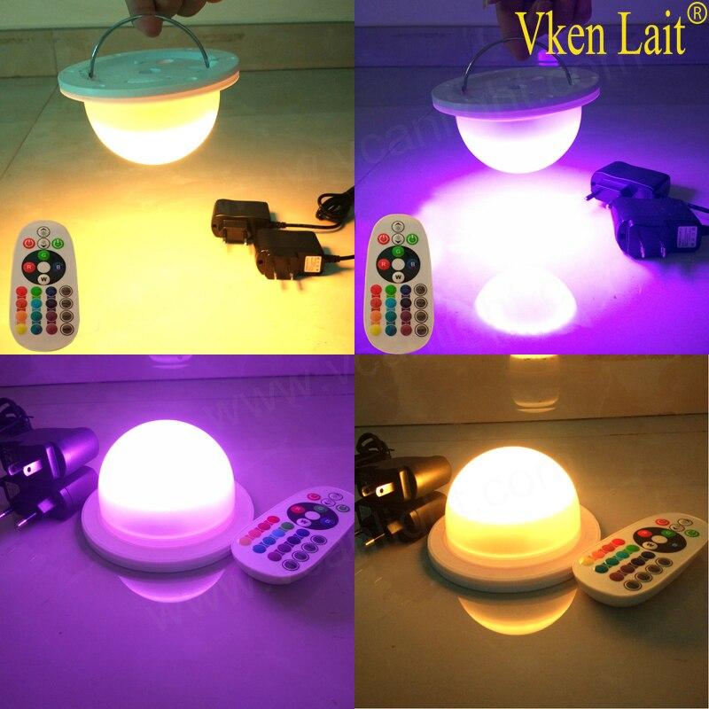 10PCS/lot Waterproof Outdoor RGBW Led Light Kit Plastic Furniture Lighting Remote Controlled LED Under Table Lights for Centerpi