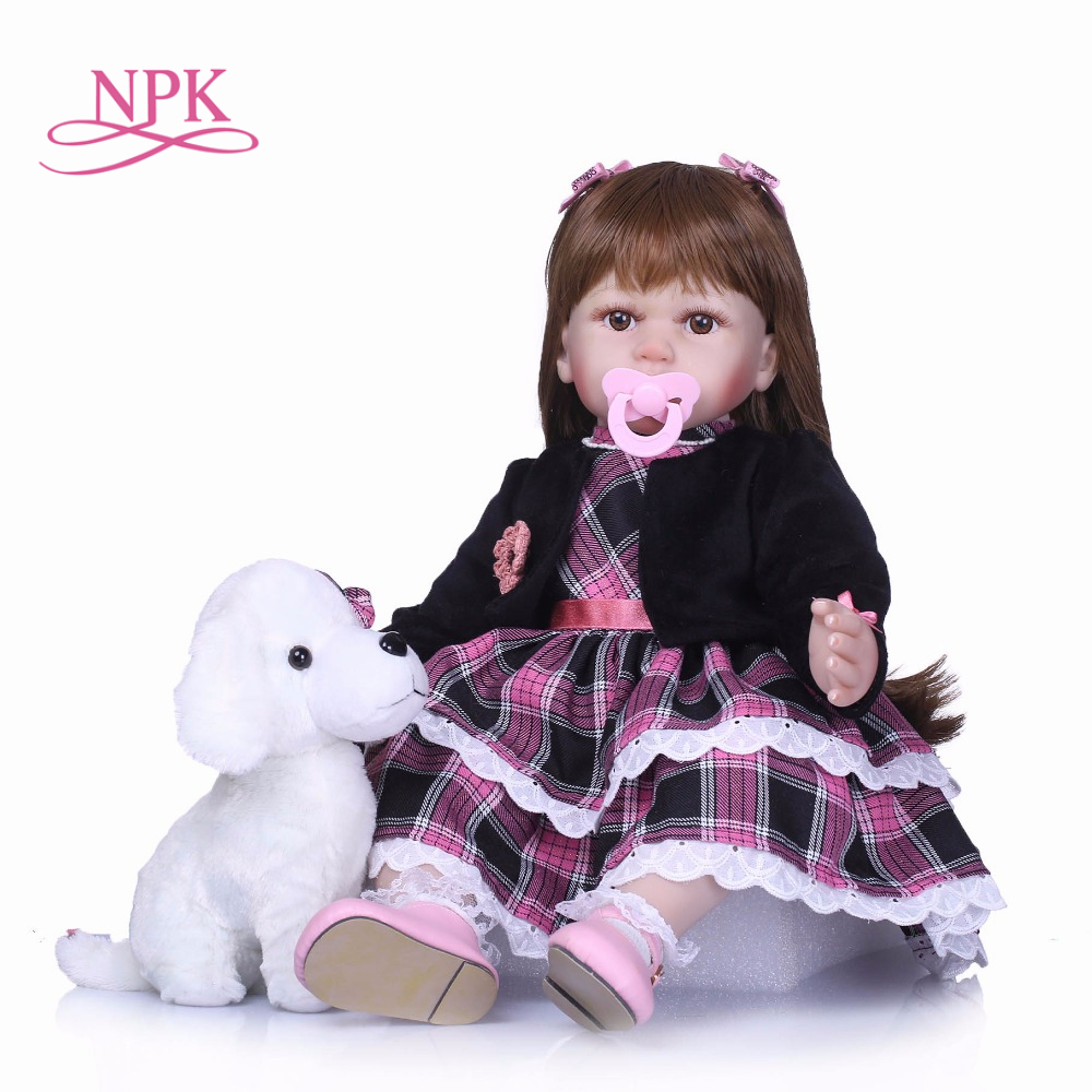 NPK 55cm Real Girls Baby Doll Realistic Soft Silicone Newborn Princess Doll Handmade Alive Vinyl Bebe