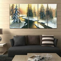 Landscape Oil Canvas Painting Prints Beautiful Fir Snow Scenery Lake Poster Wall Art For Living Room