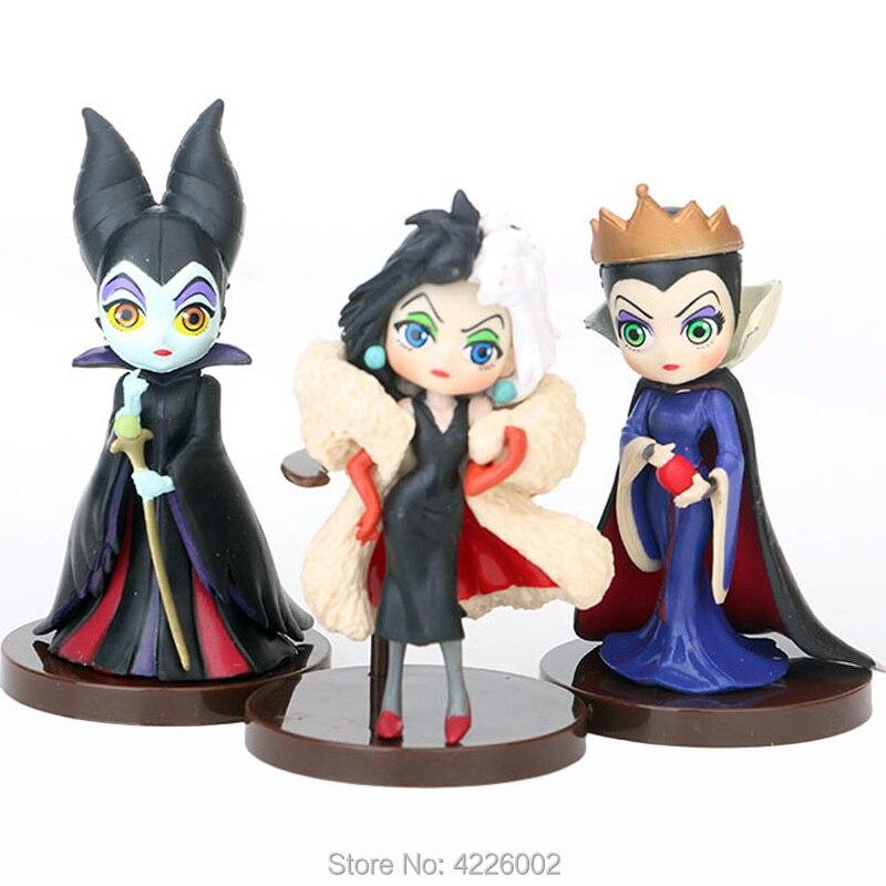 Q Posket neige blanche mauvaise reine 101 dalmatiens Cruella De Vil belle au bois dormant maléfique PVC Figurines poupées Figurines jouets