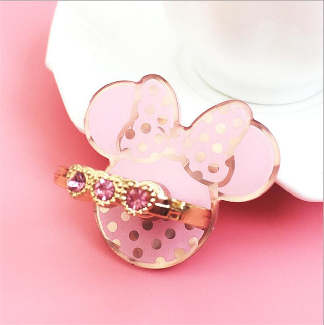 New Design Universal Top Quality Acrylic Cute Mobile Phone Holder Ring Rings Cute Pink Cartoon Mickey Kitty Bear Phone Support